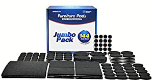 Furniture Buffers 8 Different Sizes of Felt Furniture Pads with 2 Large Rectangle Sheets, Black, Jumbo Pack (144 Count)