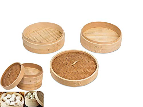 All Natural 9 Inch Asian Kitchen Bamboo Steamer Basket Reusable With Lid 2 Layer Double Compartment Dumpling Vegetables Dim Sum (Chinese Sticky Rice Recipe Using Rice Cooker)