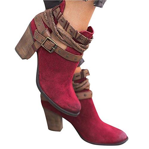 36 pour 5 Femme Poplover Bottes Red Rouge Y7PYXxq