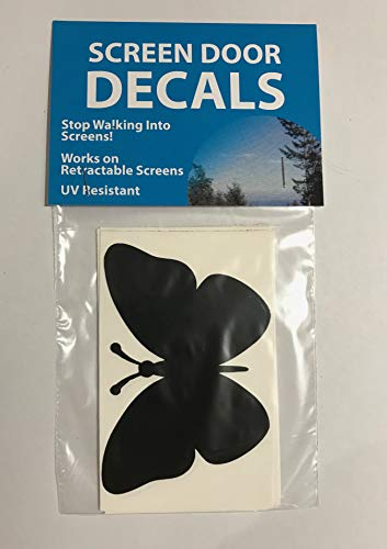 Beau Retractable Screen Door Decals (Stickers)   5 Per Package   Keep Children  Safe   Alert Birds, Dogs, Kids   Warn, Protect, Window Safety   Butterfly  (White) ...