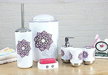 Mytop New Fashion Printing Plastic Bathroom Accessories Sets Complete, Toothbrush Holder,Soap Dispenser,Soap Dish,Toilet Brush and Holder,Waste Bin,Rinse Cup Suitable for Bathroom