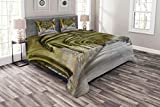 Lunarable Gothic Bedspread Set King Size, Paved Stone Walkway with Gothic Arches Receding Into Distance Arched Windows Portals, Decorative Quilted 3 Piece Coverlet Set with 2 Pillow Shams, Charcoal
