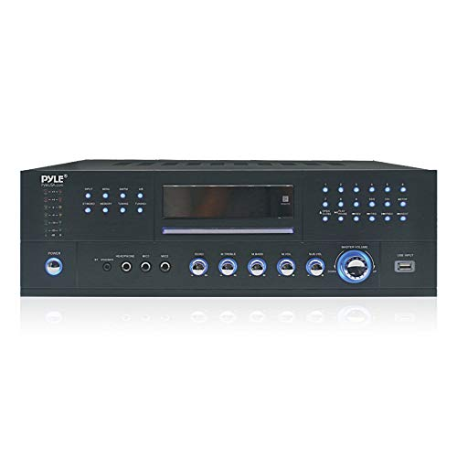 4 Channel Wireless Bluetooth Amplifier - 3000 Watt Stereo Speaker Home Audio Receiver w/FM Radio, USB, 2 Microphone w/Echo for Karaoke, Front Loading CD DVD Player, LED, Rack Mount - Pyle PD3000BA ()