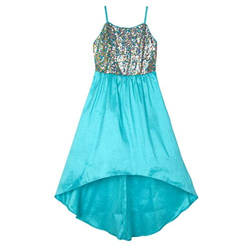 Amy Byer Girls' Big Sequin-to-Taffeta High-Low Party Dress, Bali Blue/Multi, 12, bali blue/multi Sequins]()