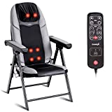 Giantex Back Massager Chair Portable Neck Massage, for Home Office Muscle Relax 3D Deep Shiatsu Kneading with Hand Controller, Vibration Seat Adjustable, USB Port, Folding Massaging Chairs with Heat