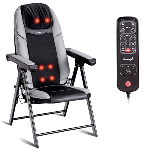 (Giantex Back Massager Chair Portable Neck Massage, for Home Office Muscle Relax 3D Deep Shiatsu Kneading with Hand Controller, Vibration Seat Adjustable, USB Port, Folding Massaging Chairs with Heat)