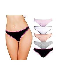 Emprella Women's Cotton Thong Panties, Underwear Woman, Women Seamless Thongs Femme Pack