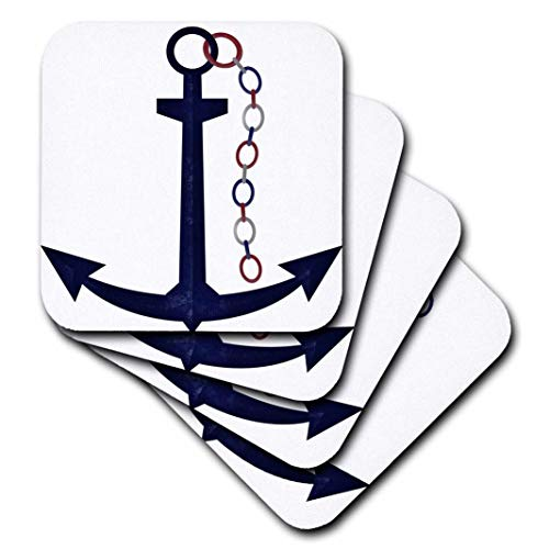 3dRose Lindo Azul Barco Ancla con Cadena de Rojo, Blanco, Azul–Suave Posavasos, Juego de 8(CST 222621_ 2)