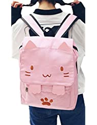 Korean Cute Cat Canvas Backpack Student Cartoon Embroidery School Bag Daypack size One Size (Pink)