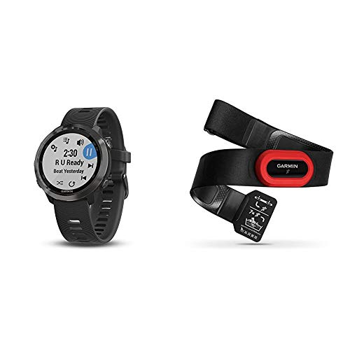 Garmin Forerunner 645 Music, GPS Running Watch with Contactless Payments, Wrist-Based Heart Rate and Music, Slate Bundle with Garmin Garmin HRM-Run