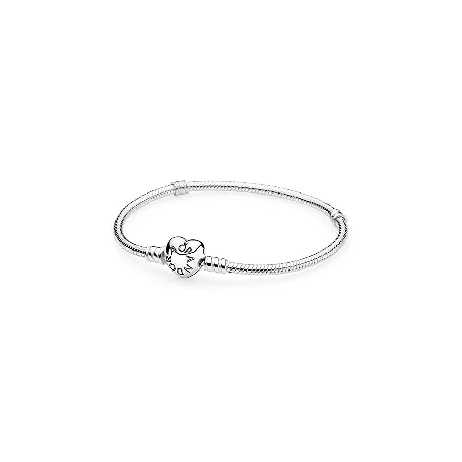 PANDORA 590719 Sterling Silver Heart Clasp Bracelet, Gift Box Included