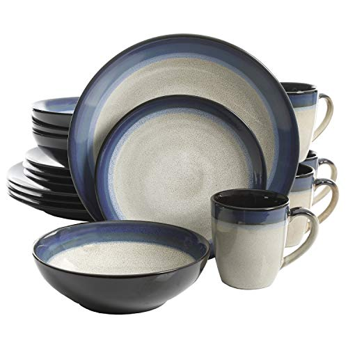 Gibson 91547.16RM Couture Bands 16-Piece Dinnerware Set, Blue and Cream