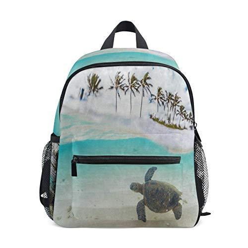 Tropical Hawaiian Green Sea Turtle Palm Tree School Backpack For Girls Kids Elementary School Bag Mini Backpacks