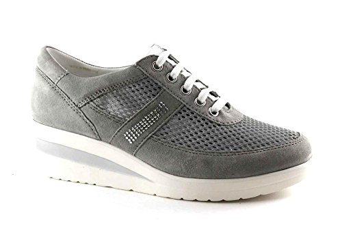 Cinzia Soft IV5850 Argent Gris Chaussures de Sport Gris Lacets zeppetta Grigio nvDhqeC