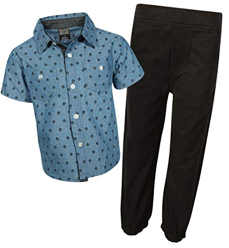 Quad Seven Boys 2-Piece Pant Set Button Down Shirt and Pant (Toddler and Little Boy)