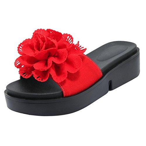 Women's TAOFFEN Slider Mules Red Flatform Shoes Y7q7pxd