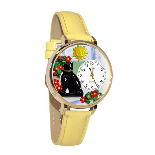 Whimsical Watches Unisex G0120010 Basking Cat Yellow Leather Watch ()
