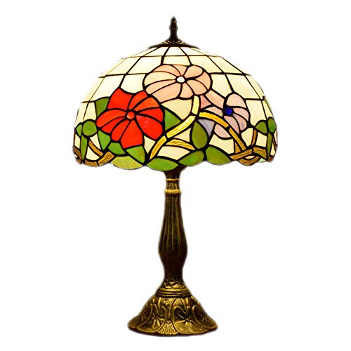 SHPEHP Tiffany Pastoral Mediterranean Style 12 inch Stained Glass Morning Glory and Crystal Beads Bedroom Bedside Table lamp - Crystals Glory 12