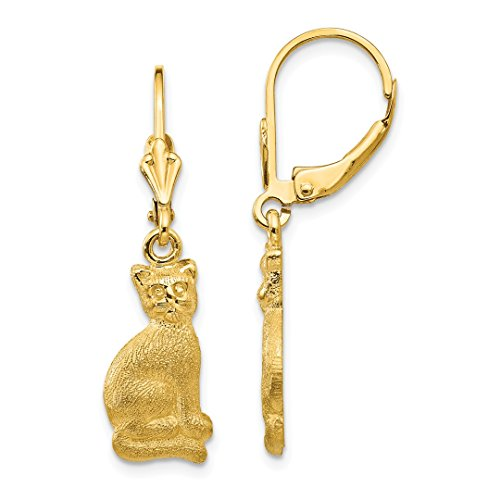 - 14k Yellow Gold Cat Drop Dangle Chandelier Leverback Earrings Lever Back Animal Dog Fine Jewelry For Women Gift Set