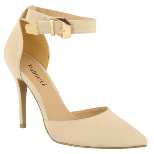LADIES WOMENS HIGH HEEL POINT TOE STILETTO SANDALS ANKLE STRAP COURT SHOES SIZE Beige Cream Nude Suede 57NwFi
