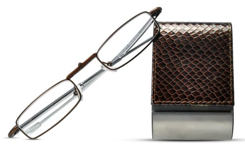 Cinzia Folding Readers Reading Glasses with Reptile Pattern Case, 1.50, - Glasses Straighten