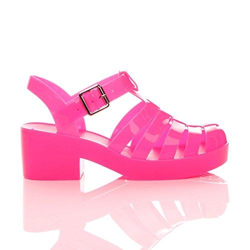 Pink Size Ajvani 90s Sandals Block Jelly Neon Retro Women Heel Mid FWfnzgrqF