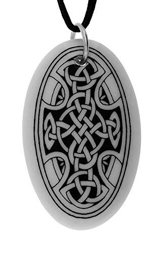 UNYKTOUCH Handmade Celtic Nevern Cross Oval Shaped Porcelain Pendant (on Black Cord)