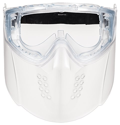 MSA 10150069 Sightgard Vertoggle Safety Goggle/Face Shield Combination, Polycarbonate Lens, Clear Lens