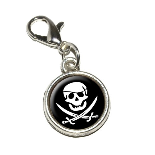 Graphics and More Pirate Skull Crossed Swords Jolly Roger Antiqued Bracelet Pendant Zipper Pull Charm with Lobster Clasp
