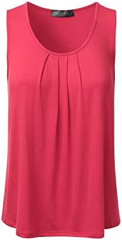 DRESSIS Women's Casual Pleated Scoop Neck Loose Fit Tank Top