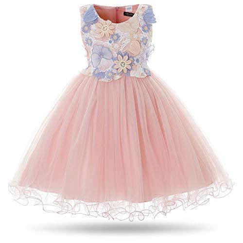 CIELARKO Girls Dress Kids Flower Lace Party Wedding Dresses (2-3 Years, Pink)