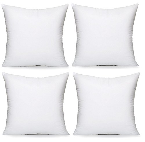 "Acanva Hypoallergenic Pillow Insert Form Cushion, Square, 16"" L x 16"" W, Pack of 4"