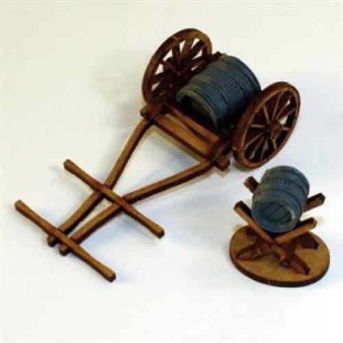 Terrain - Camps, Carts & Wagons 28mm Hand Drawn Water Cart & Jack w/Barrels -