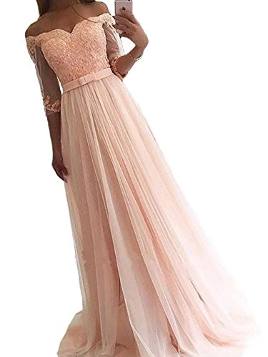 Women's Off The Shoulder Formal Tulle Pink Evening Party Dress Lace Applique Homecoming Dress With Sleeves US16 (Shoulder Music Cd)