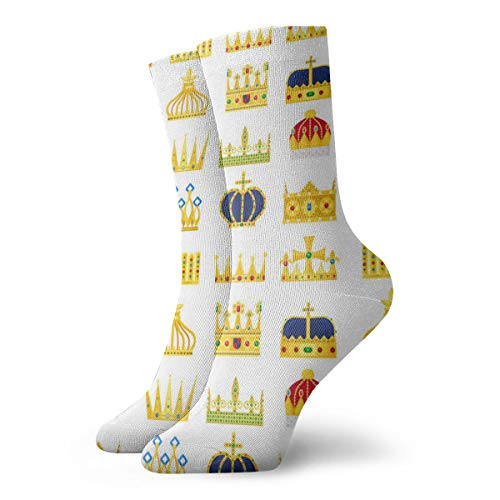 - SARA NELL Novelty Funny Crazy Crew Sock Crown King&Queen Vintage Pattern Printed Sport Athletic Socks 30cm Long Personalized Gift Socks