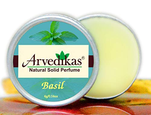 Arvedikas Basil Natural Solid Perfume Beeswax/Mini Jar/Floral Fragrance/Basil Perfume/Essential Oil Blend Perfume/Organic Vegan Travel Perfume/Women Aromatic Scent / (4gm each - 0.14oz) - Solid Cherry Blossom Perfume