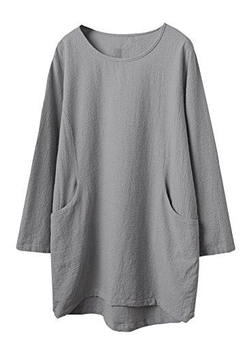 Linen Pullover - Minibee Women's Cotton Linen 4/5 Sleeve Tunic/Top Tees Gray L