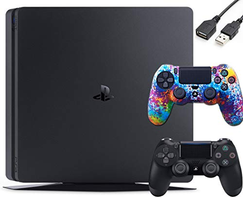 Sony PlayStation 4 PS4 Slim 1TB Gaming Console : FHD High Dynamic Range (HDR) Parental Control Capability Blu-Ray Bluetooth Wi-Fi HDMI Black (One Controller Skin Included + iCarp USB Extension)