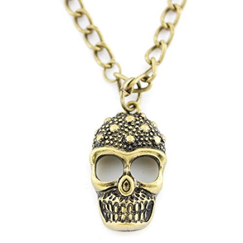 Vintage Feel Gold-tone Tiny Skull Pendant Necklace]()