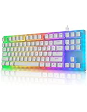 Womier K87 Mechanical Gaming Keyboard Gateron Switch TKL Hot Swappable Keyboard Partitioned RGB Backlit Compact 87 Keys for PC PS4 Xbox (Red Switch,White)