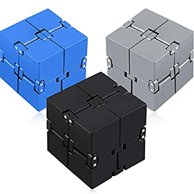 3 Pieces Infinity Cube Prime for Stress and Anxiety Relief Sensory Tool Fidgeting Game Supplies (Black, Gray, Blue): Toys & Games