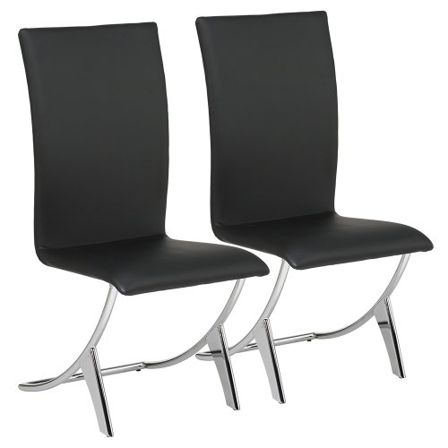 Delfin Parsons Chair [Set of 2] Upholstery: Black