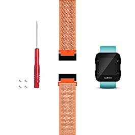 C2D JOY Only Compatible with Garmin Forerunner 30/35 Replacement Band with Adapter, Screws and Screwdriver, Sport Mesh Strap for Sports & Outdoor Nylon Weave Running Watchband – S/M