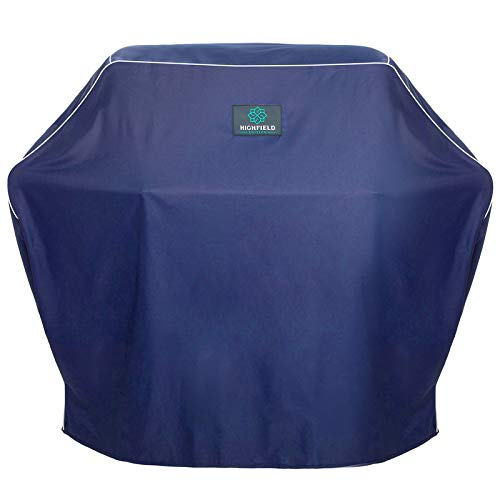 """Highfield Edition Heavy Duty BBQ Grill Cover - 600D Polyester, Blue, 58"""" - Water and Weather Resistant - Rip-Proof Outdoor Protector for Grills"""