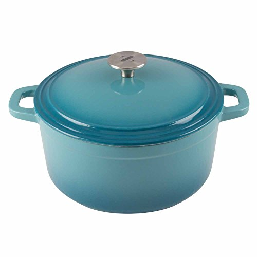 Zelancio Cookware 6 Quart Cast Iron Enamel Covered Dutch Oven Cooking Dish with Self-Basting Lid (Aqua Blue)
