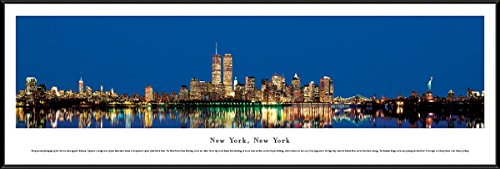 New York, New York - Twin Towers at Twilight - Blakeway Panoramas Skyline Posters with Standard Frame