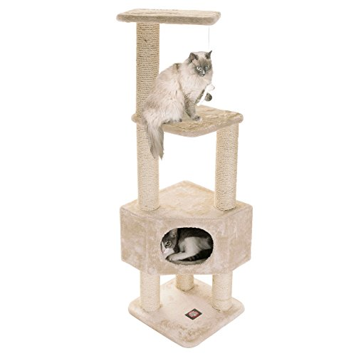 Majestic Pet Products 52 Inch Cat Tree Furniture Tower Condo House with Scratching Post, Multi-Level Activity Pet Tree (Beige (Best Majestic Pet Cat Trees)