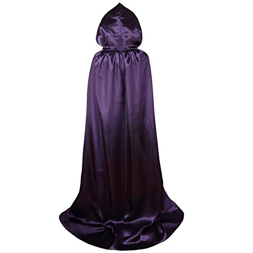 VGLOOK Unisex Full Length Hooded Cloak Costume Party Cape Wedding Cape (Full Length Satin Cape)