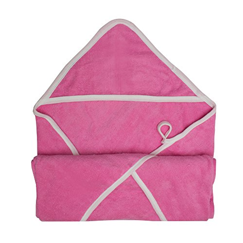 """Double-Ply, Super Absorbent Knit Terry Hooded Bath Towel, Large (36"""" X 36"""") (Pink)"""