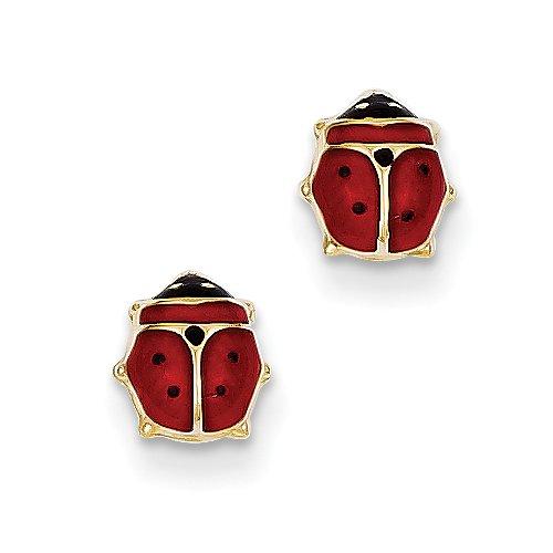 Yellow Enameled Ladybug (14k Yellow Gold Enameled Ladybug Post Earrings)